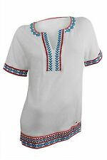 Tommy Hilfiger $69.5 NWT Bright White Embroidered Tunic Top Short Sleeve Women