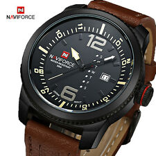 NAVIFORCE Military Sport Leather Wrist Watch Date Quartz Men Casual Day Army New