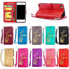 For Apple iPod Touch 5/6 Butterfly Pattern PU Leather Wallet Case Cover W/Strap