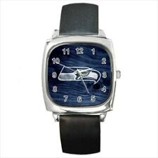 Seattle Seahawks Round & Square Leather Strap Watch - Football NFL