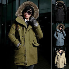 Winter Mens Fur Collar Thicken Military Trench Coat Jacket Hooded Parka Cotton