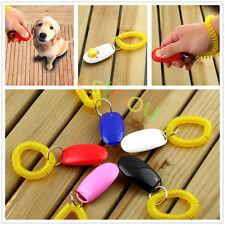 Dog&Cat Pet Click Clicker Training Obedience Agility Trainer Aid Wrist Strap IB