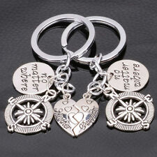 2PC No Matter where Heart Mother Daughter Family Compass Keychain Keyring Keyfob