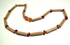 Hazelwood and natural baltic amber baby teething necklace
