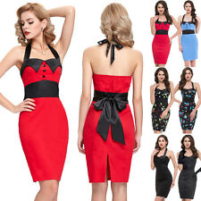 Sexy Halter Vintage Polka Dots Ball Pencil Cocktail Evening Prom Party Tea Dress