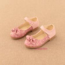 New Toddlers Kids Girls Leather Flats Shoes Fall Winter Sweet Floral Dress Dance
