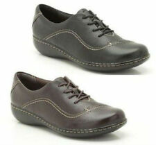 LADIES CLARKS GRAIN LEATHER FLAT LACE UP CASUAL TROUSER SHOES EMBRACE BROOK