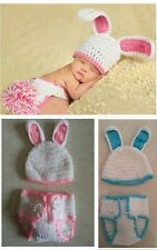 New Girls Boy Newborn-9M Knit Crochet White Rabbit Clothes Photo Prop Outfits A