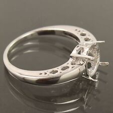 9MM Round Sterling Silver 925 Diamond Antique Engagement/Wedding Semi Mount Ring