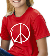 PEACE SIGN RED YOUTH T SHIRT BOYS & GIRLS MUSIC PEACE HAPPY HIPPIE ROCK POP