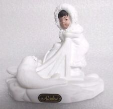 Twin Oaks bisque porcelain Eskimo Inuit with Baby Seal and Sled Alaska