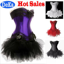 Hot!Womens Swan Moulin Rouge Burlesque Corset+Tutu Petticoat Skirt Costume Dress