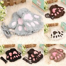 Lovely Women Cat Claw Paw Mitten Plush Glove Costume Gift Winter Half Finger Bes