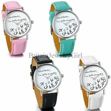 Women Ladies Whatever,I am late anyway Leather Band Quartz Nice Wristwatch Watch