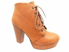 Women Agenda-H PU Chunky Stacked High Heel Lace Up Platform Dress Ankle Booties