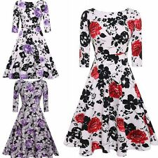 Vintage Women 1950s Floral Print Housewife Rockabilly Swing Casual Party Dress