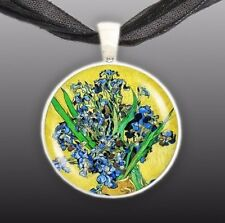 "Blue Iris Flowers w/ Yellow Background Van Gogh Painting Art 1"" Pendant Necklace"