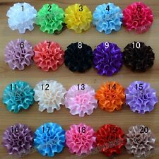 Wholesale 100pcs wrinkle ribbon corsage hat flower satin Appliques 20color pick