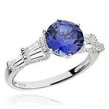 Sterling Silver 2.5 Ct Round Created Blue Sapphire & Cubic Zirconia Ring
