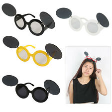 Retro Vintage Mickey Mouse Flip Up Round Punk Glasses Paparazzi Sunglasses Party