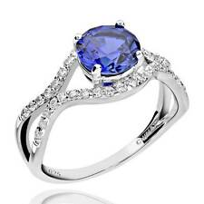 Sterling Silver 2 Ct Round Created Blue Sapphire & Cubic Zirconia Ring