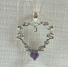 Natural Heart Shaped Amethyst & Garnet Solid 925 Sterling Silver Necklaces