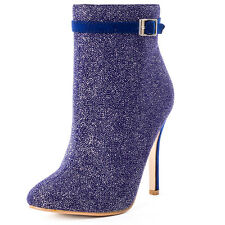 Dolcis Ruby Glitter Womens Ankle Boots Blue New Shoes
