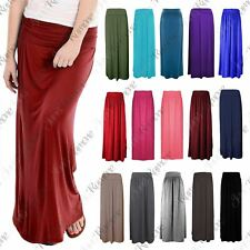 New Womens Plain Pleated Fold Over Waist Jersey Gypsy Long Maxi Skirt Size 16-26