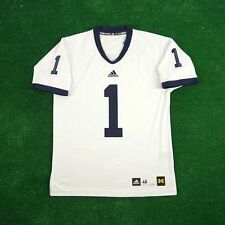 Michigan Wolverines #1 ADIDAS Authentic On-field Football White Jersey Men's