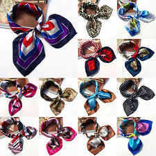 Ladies Square Silk Feel Satin Scarf Small Vintage Head Neck Hair Tie Band Beauty