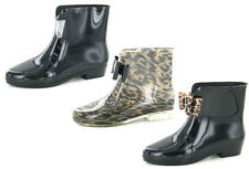 LADIES BOW TRIM ANKLE WELLINGTON BOOTS LEOPARD PRINT OR GLITTER WELLIES X1184