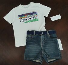 NWT Ralph Lauren Polo Infant Boys Graphic Tee Denim Short Set 3m 6m 12m NEW $65