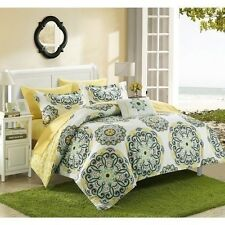 NEW Twin Full Queen King Bed Bag 8 pc Yellow White Medallion Comforter Sheet Set