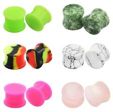 6PAIR DOUBLE FLARED EAR GAUGE-SADDLE STONE EAR TUNNEL PLUG&SILICONE EAR EXPANDER