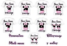 Girls Kids Personalised Minnie Mouse Birthday Age T Shirt Great Birthday Gift!