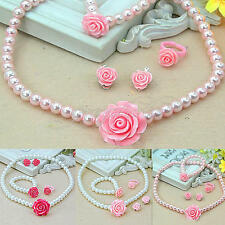 Girls Child Pearl Flower Shape Necklace Bracelet Ring Ear Clip Set Jewelry Gift#