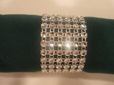 100 NAPKIN RINGS SILVER, GOLD OR HOT PINK BLING RHINESTONE (6 ROW) WEDDING EVENT