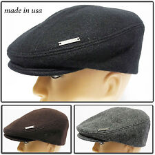 Made inUSA melton100% wool Gatsby Cap Newsboy Ivy Hat snap Golf Driving Cabbie