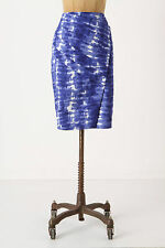 Anthropologie Araca Pencil Skirt Size 4, Blue Tie-Dye Asymmetrical By Eva Franco