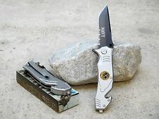 "8"" Navy Spring Assisted Folding Pocket Knife Tactical Rescue Blade Glass Breaker"