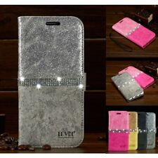 Luxury Diamond Crystal Magnetic Leather Flip Wallet Case Cover For Samsung Model