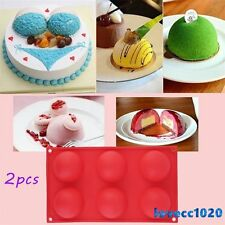 2pc 6 Half Ball Round Chocolate Cake Candy Soap Mold Flexible Silicone Mould LO