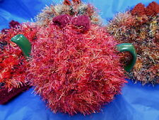 """Funky fluffy tea cosy AUTUMN COLOURS medium hand knitted in Wales up to 5.5"""" pot"""