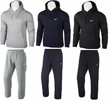 NIKE MENS FLEECE FULL ZIP TRACKSUIT BLACK / GREY  TOP HOODED HOODY & BOTTOM