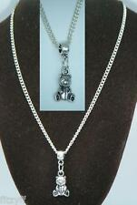 18or 24 Inch Chain Necklace & Small Teddy Bear Pendant Charm