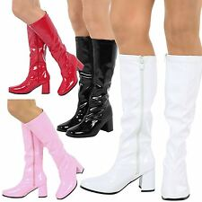 WOMENS BOOTS LADIES KNEE HIGH CALF FANCY DRESS GOGO 60s 70s PARTY RETRO SIZE NEW