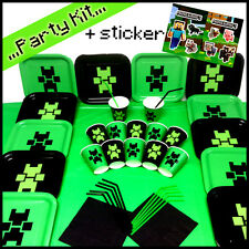 SALE Birthday Child Party Set Plates Cups Pack with 1 Minecraft official Sticker