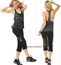 ZUMBA 2Pc.Set! Galactic HipHop Comfy Capris +Gold Foil Me Metallic Racerback S M