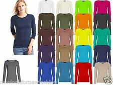 Ladies Plain Round Scoop Neck Long Sleeve Stretch T Shirt Top Fitted Tee UK 8-26