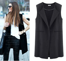 Hot New Women's Casual Lapel Sleeveless Long Waistcoat Vest One Button Outerwear
